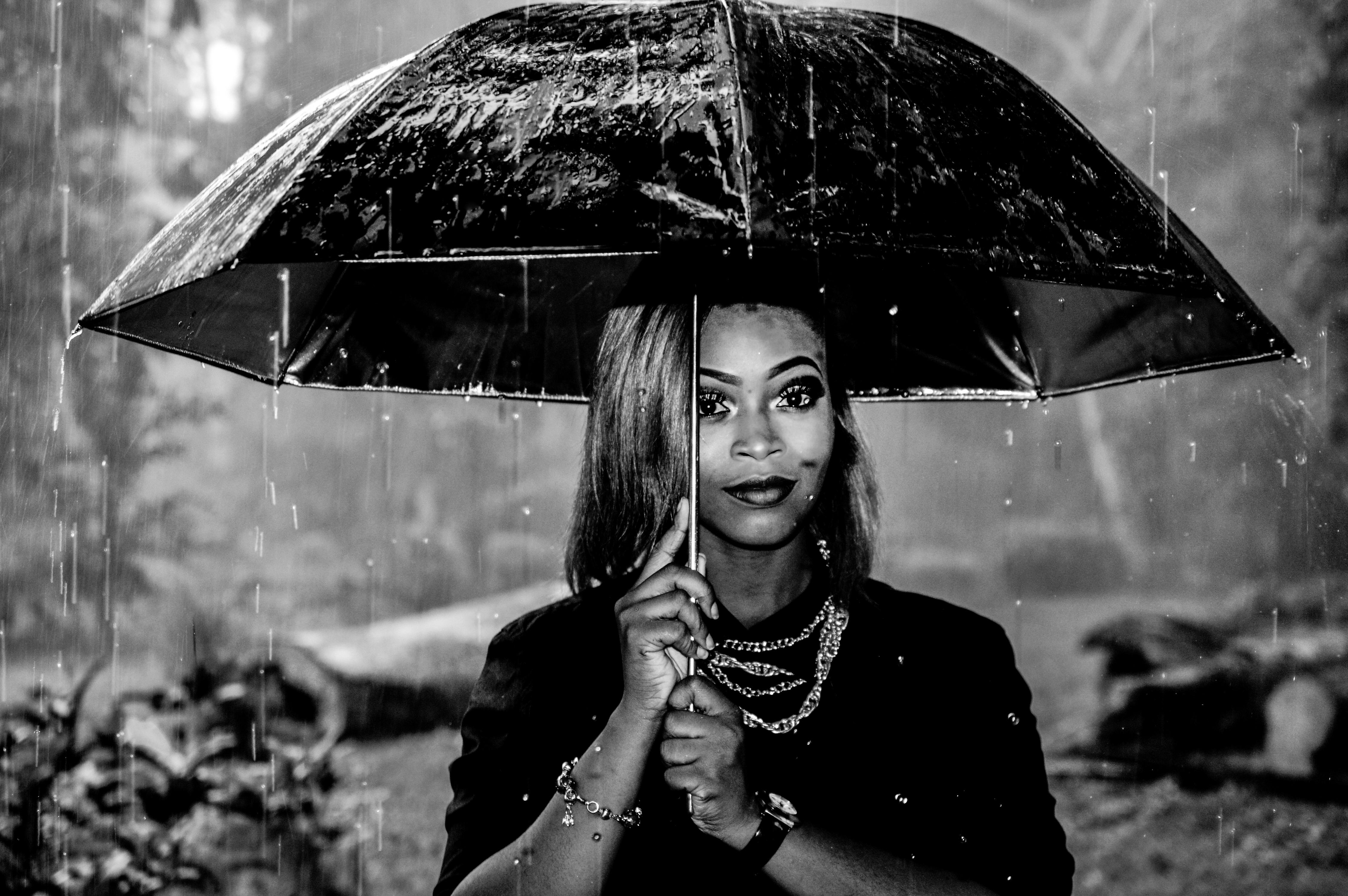 Woman Standing in the Rain Favour Omoruyi